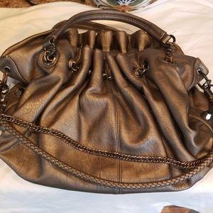bronze studded hobo bag